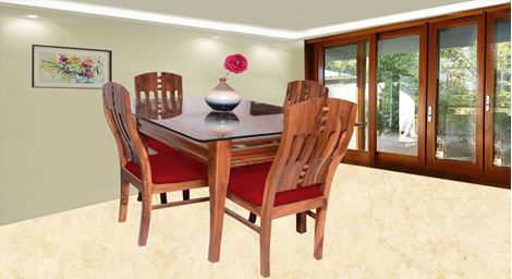 Picture of Albini 4 Seater Dining Set Rouge